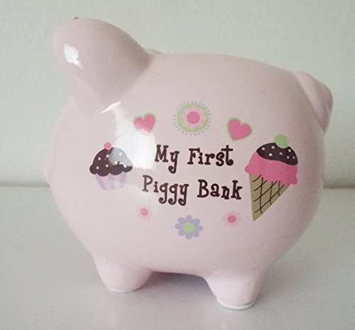 "Baby Essentials ""My First Piggy Bank"" Pink w/ Ice Cream Cone and Cupcakes - 1"
