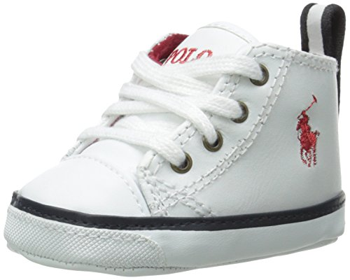 Polo Ralph Lauren Falmuth Hi layette, Stivaletti bambini, Bianco (Weiß (white leather w varsity patch)), 19