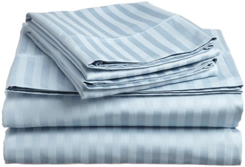 Impressions Genuine Egyptian Cotton 300 Thread Count Twin Xl 3-Piece Sheet Set Stripe, Light Blue