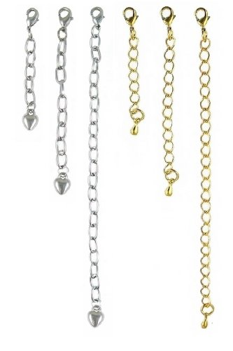 "Necklace Bracelet Extender Set ~ 1"", 2"" and 4"" in Gold and Silver Tone - 6 Pcs Total (FB209)"
