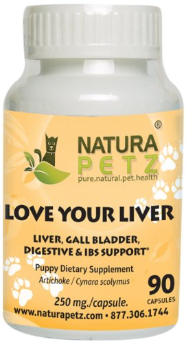 Natura Petz Love Your Liver, Liver Detox and Support for Puppies, Gall Bladder, Digestive and Irritable Bowel Syndrome Support for Puppies, 90 Capsules, 250mg Per Capsule