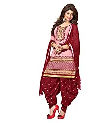 RADHE STUDIO Pink and Brown Color Cotton Embroidered Salwar Suit With Cotton Bottom And Chiffon Dupatta