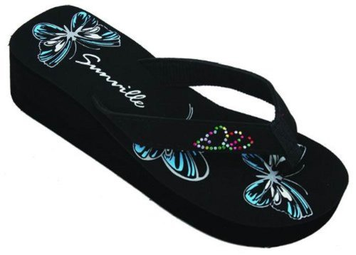 Sunville Women'S Fashion Flip Flops, Blue Butterfly, Size 6 Us front-410896
