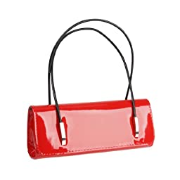 BMC Womens Synthetic Patent Leather Evening Clutch w/ Black Cord Shoulder Straps - LUSCIUOS RED