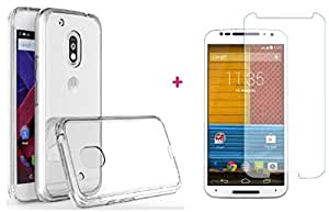 Moto G4 Plus Tempered Glass + Transparent Back Cover