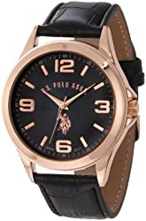 U.S. Polo Assn. Classic Men's USC50077 Black Strap with Rosegold-Tone Case Watch