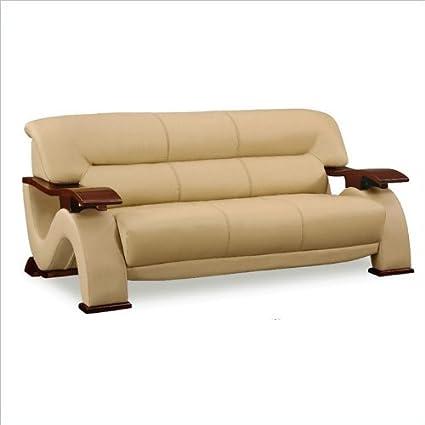 Global Furniture Bonded Leather Sofa w/ Mahogany Legs