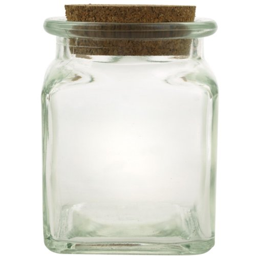 8.5oz Clear Recycled Glass Square Jar 3 3/4