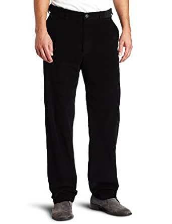Haggar Mens Work To Weekend Hidden Expandable Waist Corduroy Plain Front Pant, Black,32x30