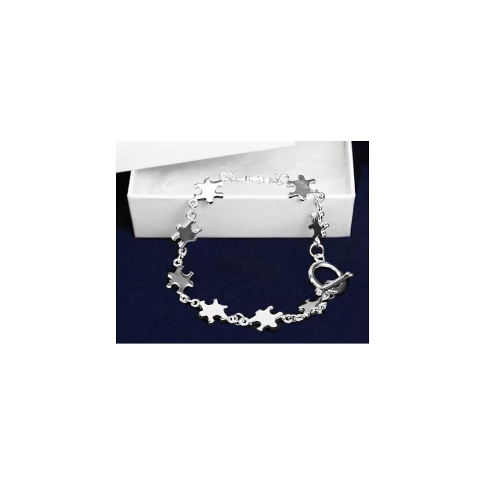 Autism Awareness Multi Puzzle Charm Bracelet   Autism Ribbon NEW Sterling Silver plates comes in Gift Box