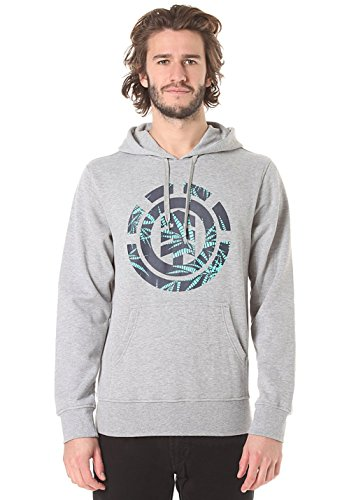 Element Nam Palm Fill Ho felpa con cappuccio garzata grey heather grigio melange hoodie (L)