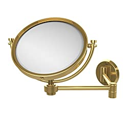 Allied Brass WM-6/4X-PB 8-Inch Wall Mirror with 4x Magnification Extends 14-Inch, Polished Brass