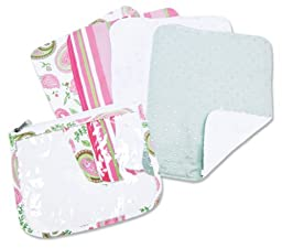 Trend Lab 4 Pack Zip Pouch Burp Cloth Set, Paisley Park