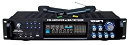 Pyle PWMA1003T 1000W Hybrid Pre Amplifier with AM/FM Tuner/USB/Dual Wireless Mic