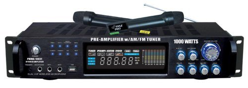 New Pyle PWMA1003T 1000W Hybrid Pre Amplifier with AM/FM Tuner/USB/Dual Wireless Mic