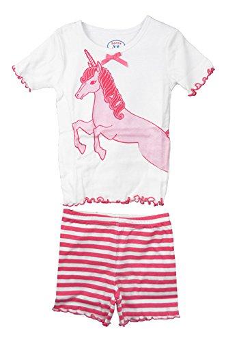 Sara'S Prints 100% Cotton Pink Unicorn Short Play Sets - Girl'S front-649968