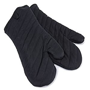 Proteove Pack of 2 Flame Retardant Quilted Oven Mitts,Extra Long Heat Resistant to 400 Degree Fahrenheit,Black
