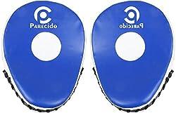 Parecido Curved Unisex PVC Boxing Focus Pads (White & Blue)