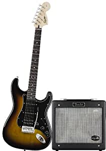 Squier Strat HSS Electric Guitar Pack w/ GDEC Jr. - Brown Sunburst