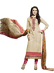 Adorn Mania Cream Cotton Embroidered salwar Suits Dress Material