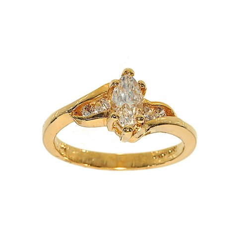 Goldtone Marquis CZ Engagement Style Fashion Ring with Offset Sides that are Channel Set Size 10