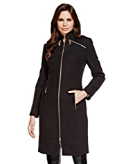 Per Una Speziale Wool Rich Textured Zipped City Coat