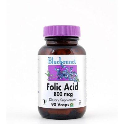 Bluebonnet Nutrition - Folic Acid 800 Mcg. - 90 Vegetarian Capsules