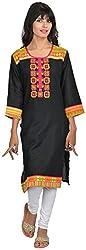 Goodyygoods Women's Cotton Regular Fit Kurti (GG 40, Black, X-Large)