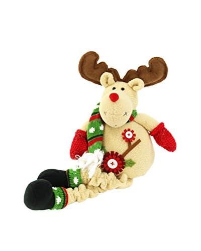 Figura Decorativa Renna Seduta Christmas