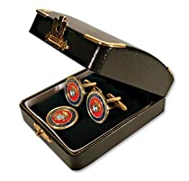 Marine Corps Ball Marker Cuff Links with Stem Ball Marker