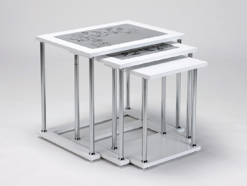 Image of Modern Rectangular Glass Top White Color 3 Pcs Nesting Tables / Stacking End Tables Set (B0086BDWFK)