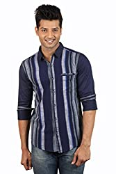 Le Tailor Men's Slim Fit Casual Stripes Shirt ( SLCFS107,Blue & Grey,M )