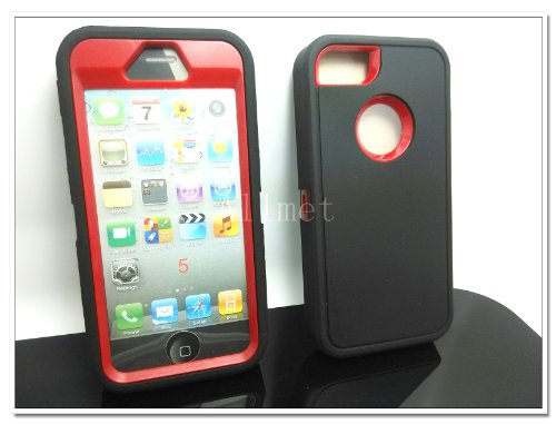 Multi Color Iphone 5 5S Body Armor Silicone Hybrid Cove Hard Case, Three Layer Silicone PC Case Cover for iPhone 5 5S (Black+Red)