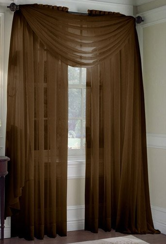 "2 Piece Set 95"" Long Solid Sheer Curtains Panels Window Treatment (Coffee)"