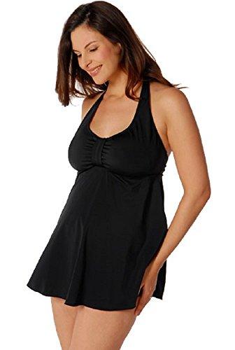 PregO Maternity Women's Babydoll Halter Swimsuit - XL Black