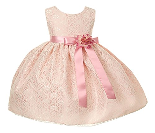 Cinderella Couture Baby Girls' Ivory Lace & Rose Flower Girl Dress Flower Sash