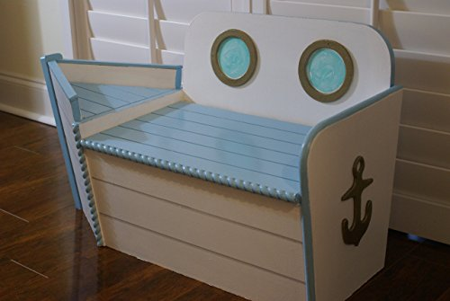 Handcrafted Wood Toy Chest With Boat Shape Painted Blue Boat Toy