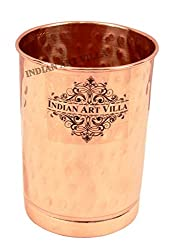 IndianArtVilla 4.0 X 2.8 Pure Copper Hammered Glass - 300 ML Water Serving Home Hotel Drinkware Good Health Benefits Yoga Ayurveda