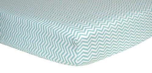 Trend Lab Print Flannel Crib Sheet, Mint Green and White Chevron