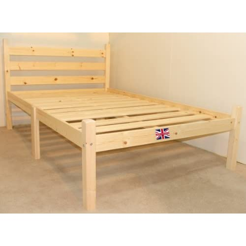 Double Pine Bed 4ft 6 HEAVY DUTY Wooden Frame with extra wide base slats and centre rail - VERY STRONG