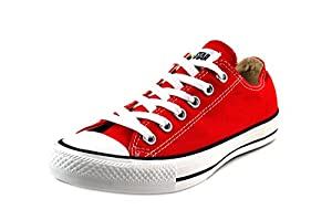 Converse Men's Low Chuck Taylor Canvas Sneaker (8.5, Red)