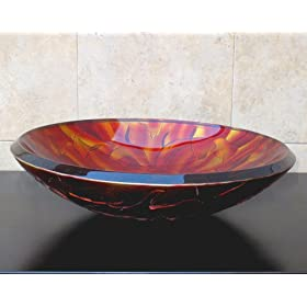 "3/4"" Thick Bathroom Art Glass Vessel Vanity Sink 9080"