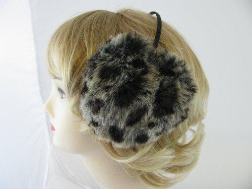 Womens ,Older Girls Fluffy ear muffs in Black & Grey Leopard print fake fur fabric,Ideal Cold weather wear.