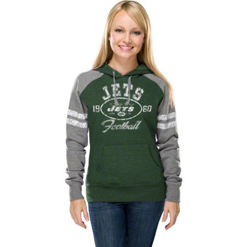 NFL Women's New York Jets Long Sleeve Raglan Pullover Fleece Heather Hood (Green/Gray, Small) at Amazon.com