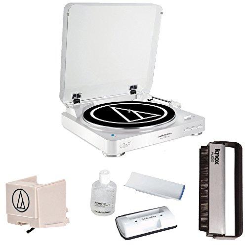 Audio-Technica-AT-LP60WH-BT-Automatic-Bluetooth-Turntable-White-w-Knox-Carbon-Fiber-Vinyl-Brush-Additional-ATN3600L-Stylus-AT6012-Cleaning-Kit
