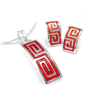 Meander Greek Key Red Enamel Geometric Stud Earrings & Necklace Set