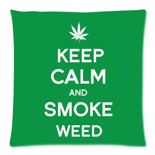 Generic Personalized Marijuana Weed Leaf Keep Calm And Smoke Weed For Zippered Throw Pillowcase 18X18 Inches (One Sides) front-1004431