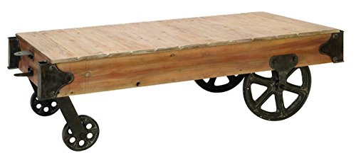 Deco 79 Wood Cart Coffee Table, 56 by 16-1/2-Inch from Deco Seventy-Nine
