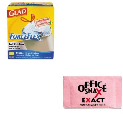 kitcox70427ofx00061-value-kit-office-snax-nutrasweet-pink-sweetener-ofx00061-and-glad-forceflex-tall