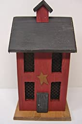 Primitive Country Rustic Red Saltbox Lighted House